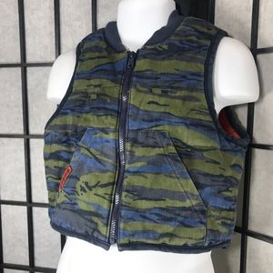 Baby Guess Camouflage Kids Zip Up Blue Green Vest